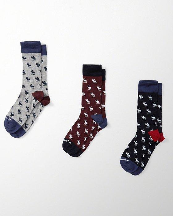 美國百分百【全新真品】Abercrombie & Fitch 襪子 AF 麋鹿 中筒/長筒襪 配件 三入一組 H439