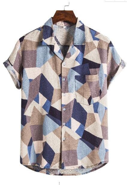 FINDSENSE X  男士 薄款 棉麻 西裝領 短袖 上衣 幾何圖案襯衣 休閒 襯衫防曬