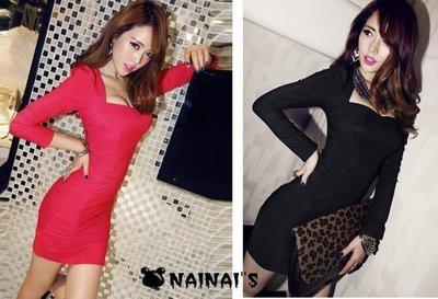 【NAINAIS】Winter‧R 1627 韓版 夜店跑趴 抹胸式低胸公主袖包臀洋裝 附胸墊 黑 現貨