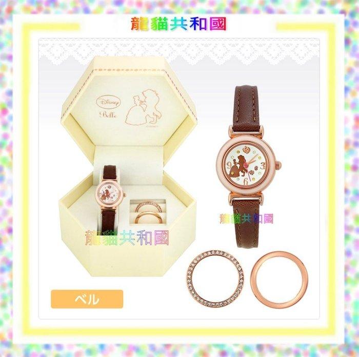 日本迪士尼Disney《美女與野獸貝兒公主  牛革手錶》腕錶 女錶~日本製~生日情人聖誕節禮物【預購!】
