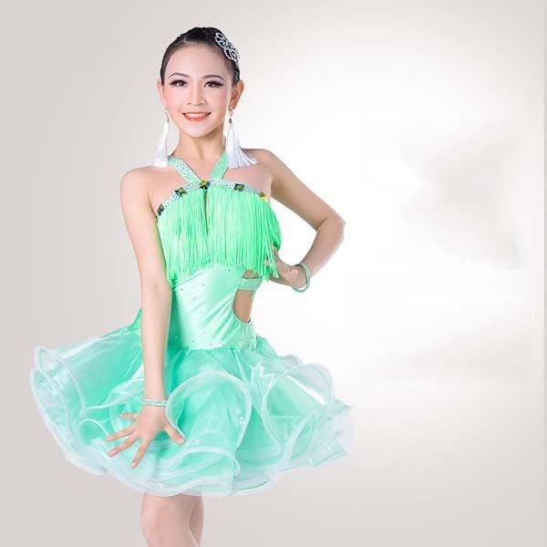 5Cgo【鴿樓】會員有優惠 543041699450 少兒拉丁舞蹈比賽服裝吊脖女兒童拉丁表演出蓬蓬流蘇裙