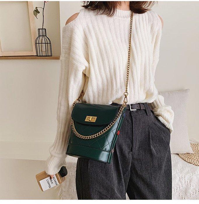 FINDSENSE X 韓國 女士 時尚菱格紋 水桶包 小挎包 百搭 小方包 單肩包