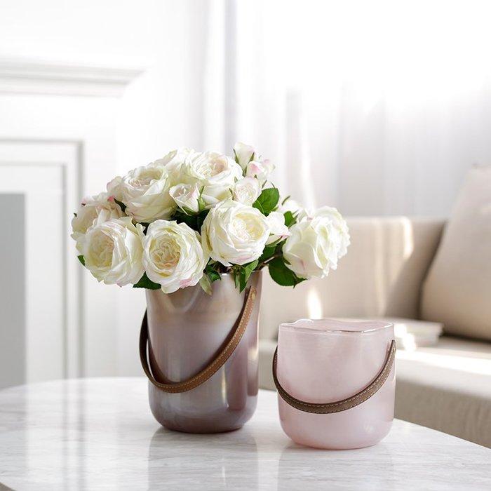 #創意 裝飾品 居家ladylike皮革手提帶漸變彩色玻璃花瓶擺件 仿真花水培植物玻璃瓶