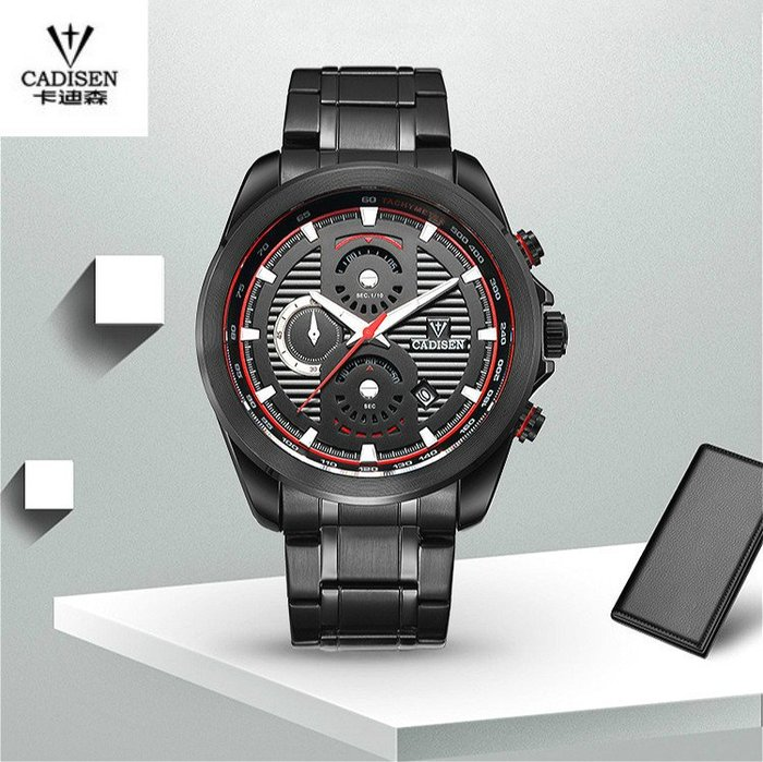 CADISEN卡迪森 原廠正品 多層次線條大錶面 時尚雜誌款 真三眼六針 真日期 不銹鋼錶帶 潮流型男錶【S & C】