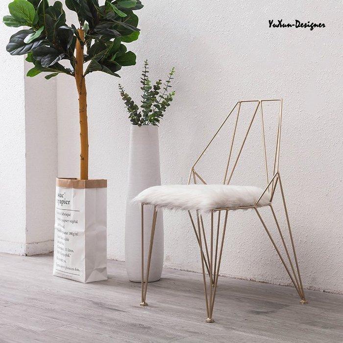 鏤空簡約金屬金色椅 設計師椅子 LOFT工業風北歐法式鄉村INS 高級會館休閒餐椅 宥薰設計家