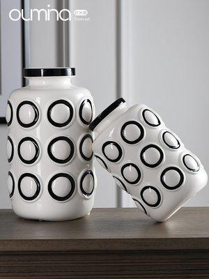 千夢貨鋪-現代簡約輕奢陶瓷花瓶擺件家用...