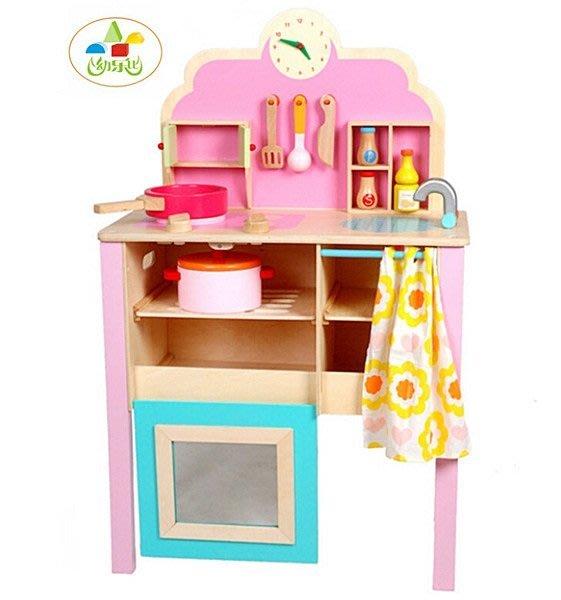 【阿LIN】193328 幼樂比 14010木製仿真粉色廚房 兒童扮家家酒 廚房 實木