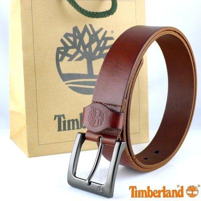 獨家引進◎全新100%原廠Timberland正品LOGO皮扣款真皮帶◎咖啡色賣場(共二色)