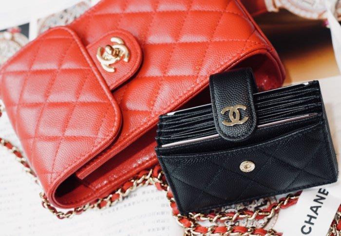 Chanel AP0342 五格荔枝紋卡夾 黑金