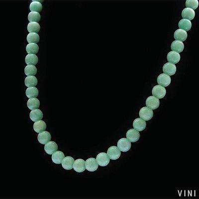 VINI 促銷A貨翡翠男女士天然10MM豆綠緬甸玉石玉項鏈手鏈吊墜