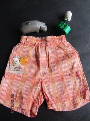 紫庭雜貨~~ 奇哥 小熊維尼 pooh winnie  橘色格子維尼熊短褲~ 尺寸 2A