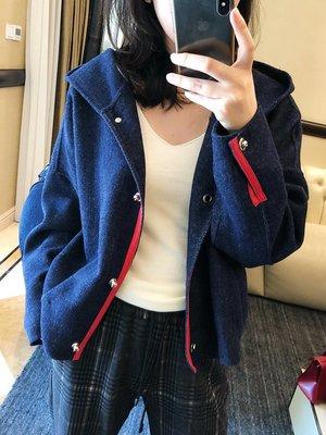 《巴黎拜金女》純羊毛繭型連帽夾克短外套