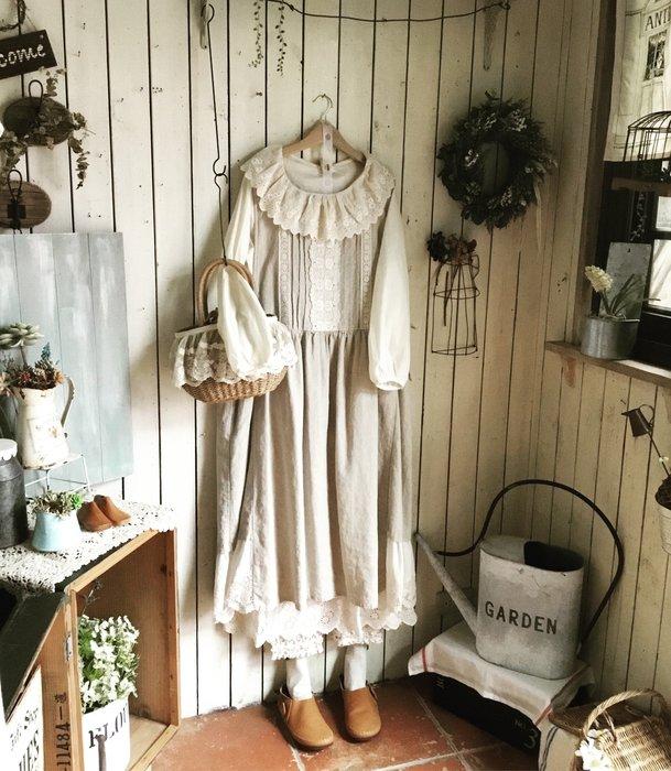 【花里-棉麻自然生活】正韓韓國直送自然系森林系棉麻亞麻 2story giny 背心裙