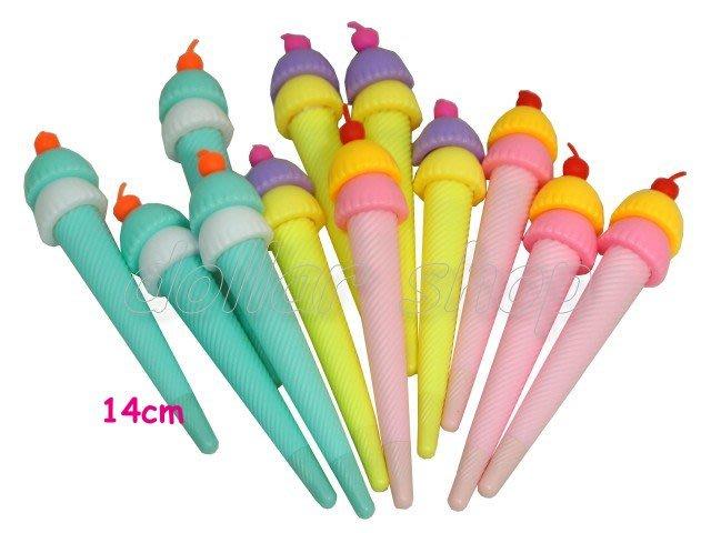 寶貝玩具屋二館☆【文具】3入一組-超可愛Q版甜筒冰淇淋中性筆(可愛創意辦公文具)
