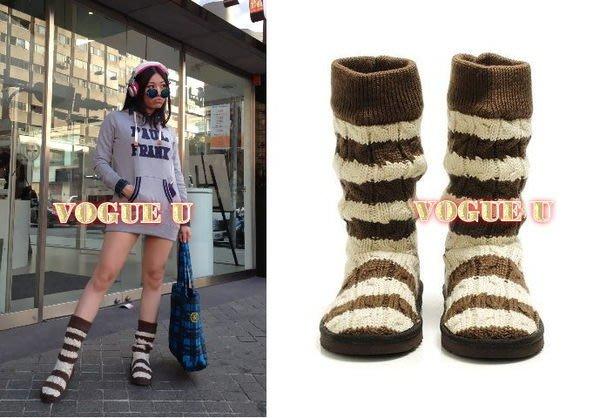 ☆VOGUE U☆歐單~麻花捲條紋毛線編織羊毛雪靴 短靴(特價) 【B0172X】