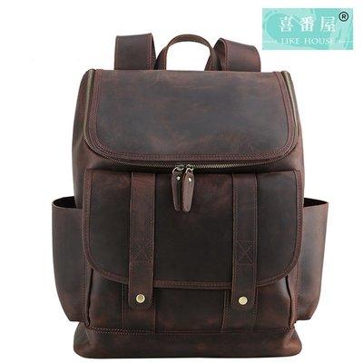 【喜番屋】真皮頭層牛皮復古大容量男士雙肩包後背包旅行包旅行袋男包【LB459】