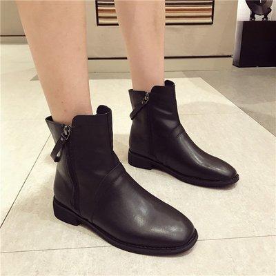 【Trend Sh】時尚短靴女2018秋冬新款真皮牛皮棉里短靴方頭低跟時尚氣質短靴潮