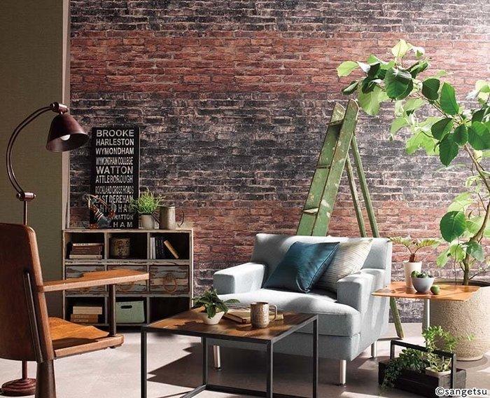 【日本壁紙】復古紅磚壁紙 黑磚壁紙 Uluru Design 日本進口壁紙 日本製