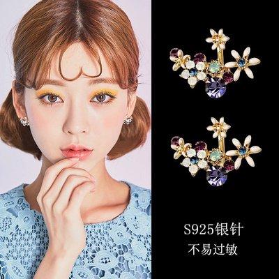 Cool酷兒飾品~S925純銀針耳釘女不對稱花朵耳環甜美氣質后掛式耳墜超仙網紅耳飾