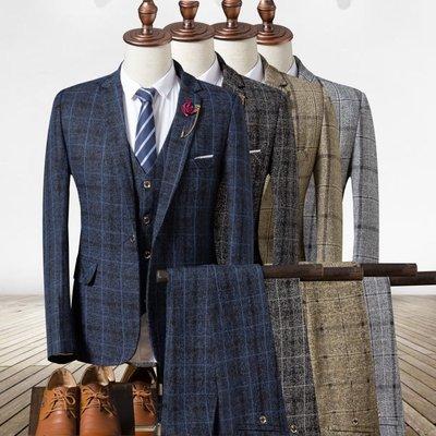 寶珠的男裝店2020 Plaid Suit Men's Groom Wedding Business Dress Suits Set