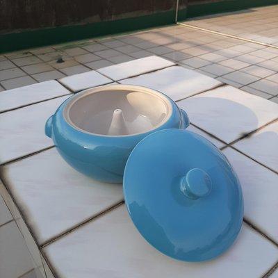 【MarsC】早期老金門瓷器水藍色陶瓷汽鍋燉盅