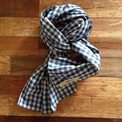 THE HILLSIDE 美國製造 紐約設計 日本布料 藍白方格紋 紅布邊 輕量四季 棉質圍巾 45rpm 庫存新品現貨