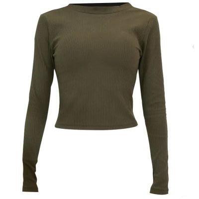 瑜珈 服 長袖上衣-短款綁帶美背彈力女運動服3色73rh20[獨家進口][米蘭精品]
