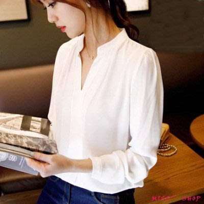 ~防曬白襯衫 韓版時尚職業氣質上衣 V...