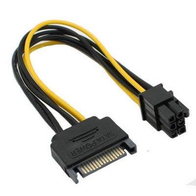 主機板 3.5吋 15P SATA公轉6PIN/6P公 公轉公 SATA電源轉6P顯卡電源 轉接線