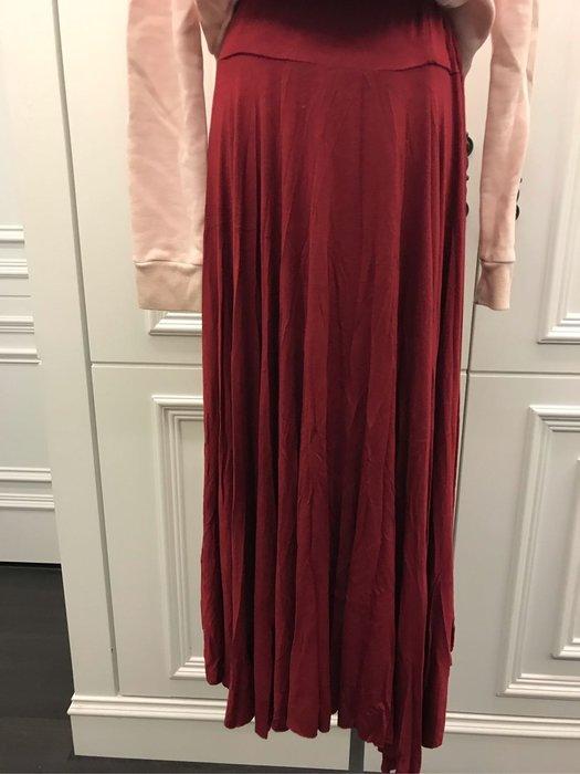 韓系紅色休閒長裙