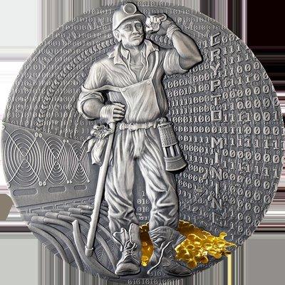 凌水泉社錢幣古玩古董收藏在途 紐埃2021年2元 加密數字貨幣采礦 50克 鍍金 銀幣