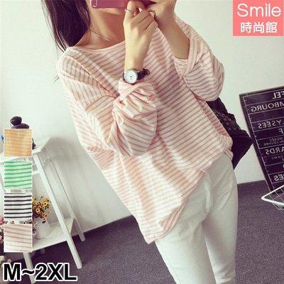 【V2669】SMILE-休閒隨意.百搭圓領寬鬆條紋長袖上衣