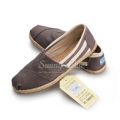 【TOMS】(女)TOMS UNIVERSITY 灰色粗條紋懶人帆布鞋-灰色 台北市