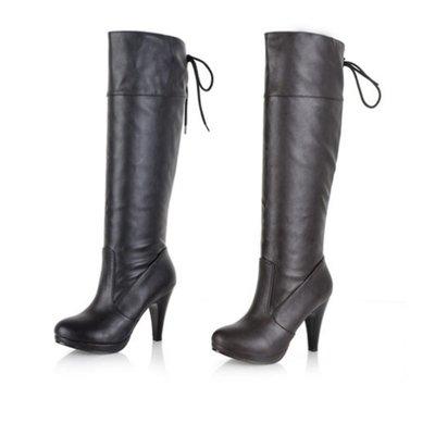 及膝靴 冬天皮靴 韓國 女靴 womens boots 黑/啡色 復古 高跟鞋 防水台 圓頭 後繫帶高筒 大碼鞋 VANCY 34-43 碼 SB69