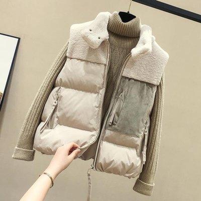 馬甲女冬短款2018秋冬新款韓版棉背心羊羔毛拼接羽絨棉馬夾外套潮