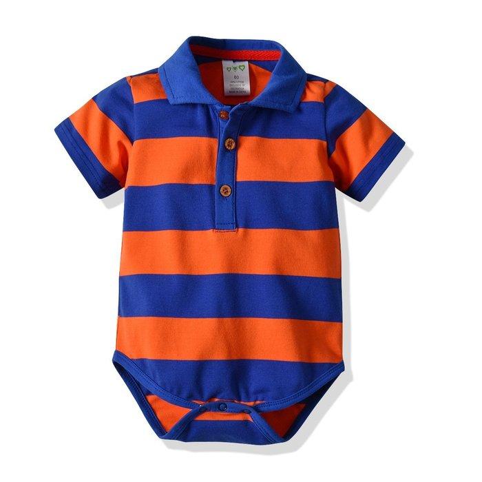 爆款 嬰兒 休閑哈衣小童短袖連體哈衣純棉條紋爬服