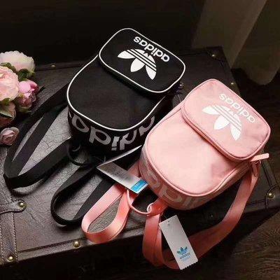 現貨 愛迪達 adidas santiago Mini 三葉草 三線 迷你後背包 黑色 粉紅色 運動尼龍雙肩包小包/澤米