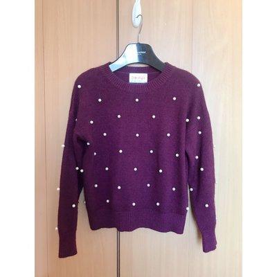 top style beautiful purple pearl warm knit blouse top shop 超靚紫色珠珠羊毛厚身保暖針織冷衫 長袖襯衫