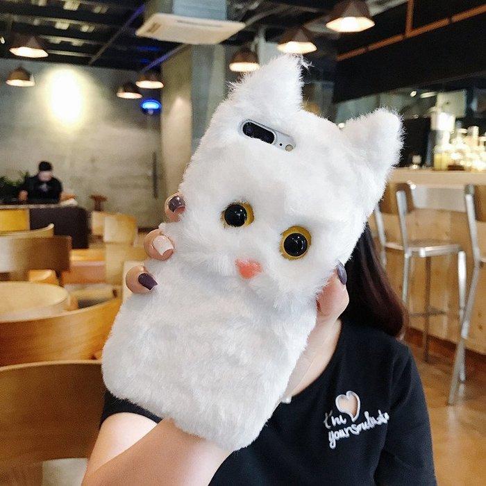 奇奇店-韓國可愛白色毛絨貓咪蘋果X手機殼女款6/6s/8/xr/xs max毛絨絨暖手iPhone7plus全包iPho