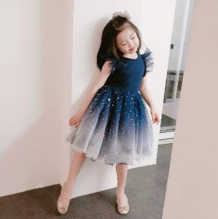 【小阿霏】兒童短袖洋裝 自留款 絕美漸層藍蕾絲小飛袖網紗女童連身裙子女孩氣質冰雪童裝 春夏連衣裙CL328