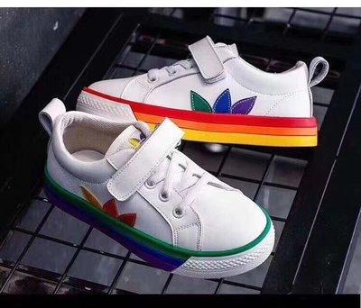 adidas愛迪達 潮童鞋 秋季新款兒童板鞋男童女童時尚休閒鴛鴦彩虹鞋