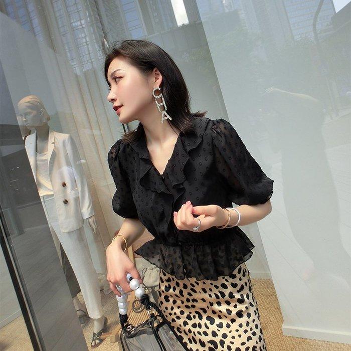 《巴黎拜金女》優雅氣質荷葉邊雪紡上衣女V領顯瘦高腰打底衫