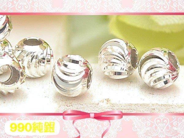 【EW】S990純銀DIY材料配件/4mm彎月刻面圓珠/西瓜珠-4線款~適合手作串珠/蠶絲蠟線/幸運衝浪繩-特價