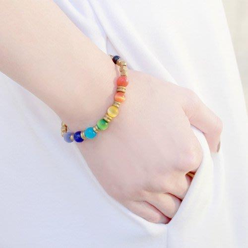 七彩糖::彩虹-  貓眼石 / 金藍砂石 / 黃銅 / 手鍊 手環 禮物客製設計