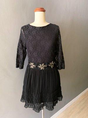Abandon Victoria 黑色百褶復古洋裝, size s (GD0091)