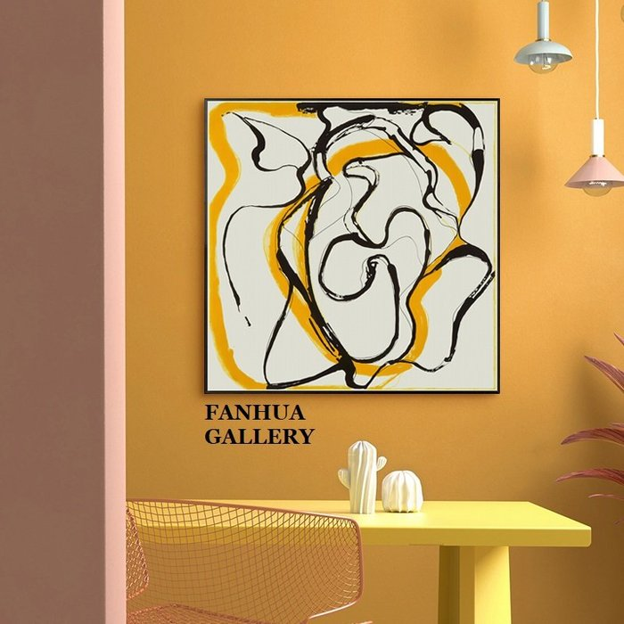 C - R - A - Z - Y - T - O - W - N 黃黑抽象線條掛畫方形幾何藝術裝飾畫商業空間設計師掛畫