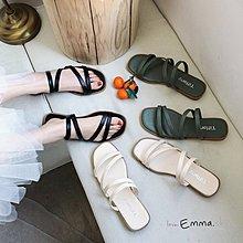 EmmaShop艾購物-韓國連線夏天簡約素色平底涼拖/拖鞋