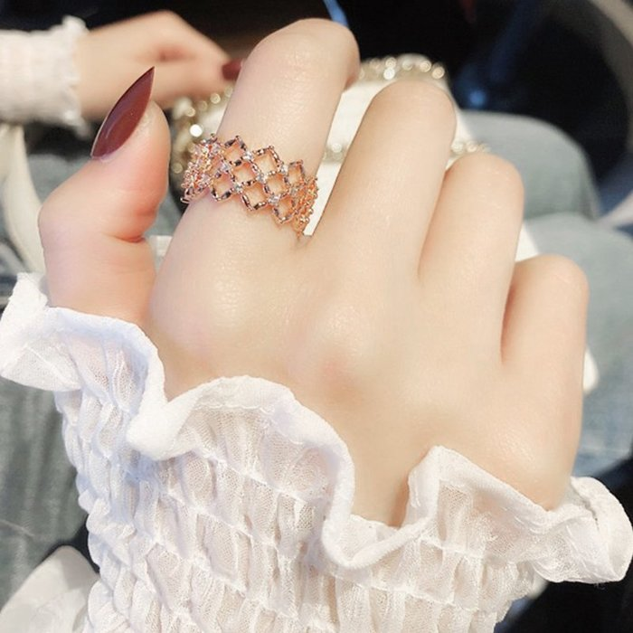 戒指 銀飾 情侶戒 婚戒 冷淡風氣質網格開口戒指女潮人百搭韓版水晶指環學生閨蜜簡約裝飾
