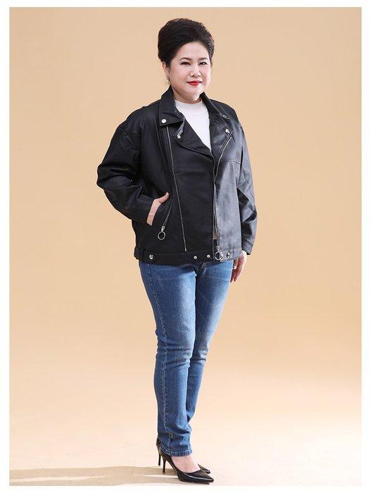 8CFB5 黑色V領皮衣時尚寬鬆拉鍊2XL-4XL秋冬婆婆裝媽媽裝風衣女裝外套大尺碼大碼超大尺碼
