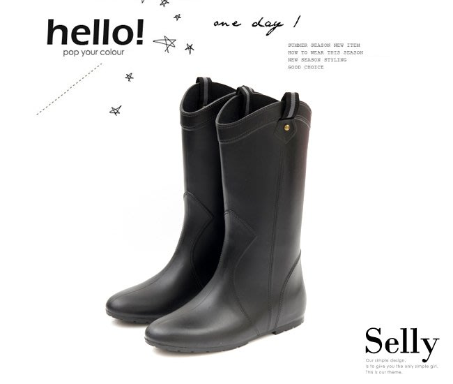 Selly outlet (RN34)織帶鉚釘心機內增高中筒雨靴 - 黑色S號 NG280